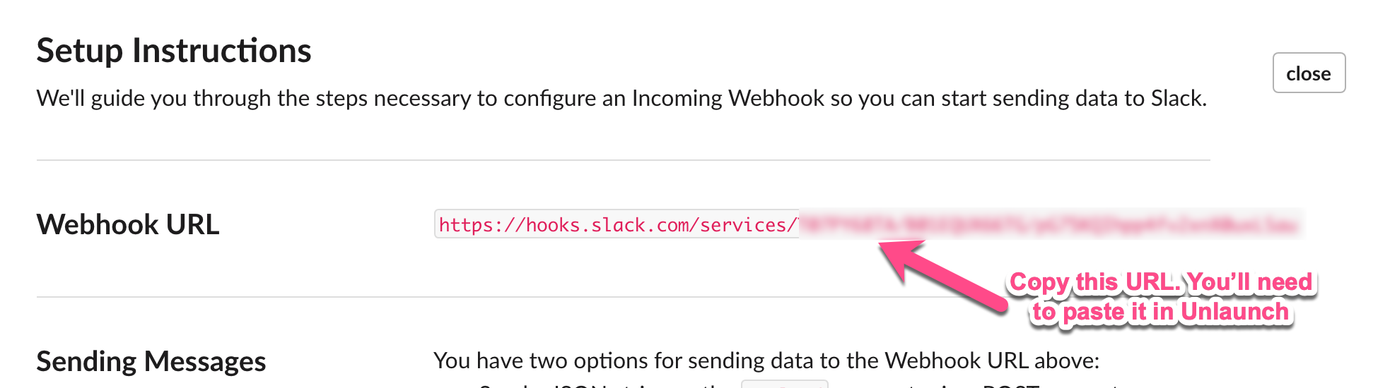Copy Webhook URL which you'll need to provide in the Unlaunch Console